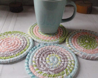 Contemporary Print Coiled Fabric Coasters in Pastel Colors - Blue, Peach, Green - Set of 4 for Kitchen, Absorbent Coasters, Handmade by Me