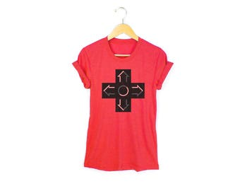 Gamer Tee - Boyfriend Fit Crew Neck D-Pad T-shirt with Rolled Cuffs in Heather Red and Black - Women's + Men's Size S-4XL
