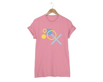 Geo Memphis XO Tee - Boyfriend Fit Crew Neck Cotton Tshirt with Rolled Cuffs in Mauve and Multi Colors - Women's Size S-5XL