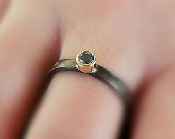 3mm Iolite Stacking Ring in 22K Yellow Gold and Blackened Sterling Silver