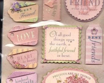 Somerset Friendship Tags 555419, K & Company, Illustrations by Brenda Walton. Scrapbooking Embellishments. Card Decorating. Paper Collage.