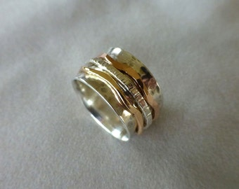 Sterling Spinner Ring, Sterling and Gold Ring. Wind Band Ring, Meditation Ring, Hand Forged Argentium Sterling and Gold Spinner Ring