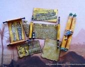 Egyptian Hieroglyph Scrolls Set dollhouse miniature, mummy, Tut, egypt, museum, explorer in 1/12 scale