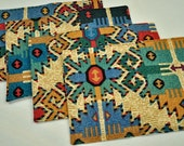 4 Eco Colorful Placemats Southwest Abstract Insulated Upcycled Fabrics