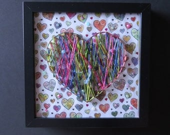 HEARTS String Art and Colored Background in Black Metal Frame