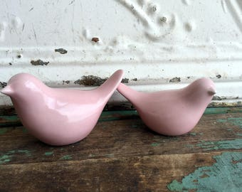 Vintage Ceramic Pink Shabby Birds set of Two Pair