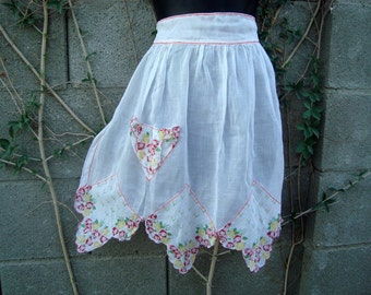 Hostess Vintage Upcycled Handkerchief Apron Reds & Sheer White