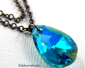 Christmas Sale Swarovski Crystal AB Blue Zircon  Double Strand Necklace