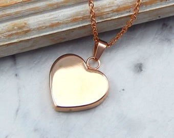 Rose Gold Heart Necklace,Rose Gold Heart Pendant,Rose Gold Heart,Mothers Necklace,Girlfriend Necklace,Wife Necklace,Sisters Necklace,Grandma