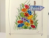 "Easter Eggs "" More Eggs"" Wreath  Watercolor Original Strathmore Card 5"""" x 6 7/8"" & Envelope  betrueoriginals"