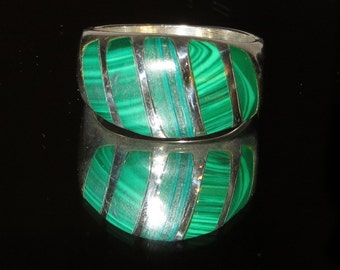 Inlaid Male Malachite Ring Band Sterling Silver Size 13