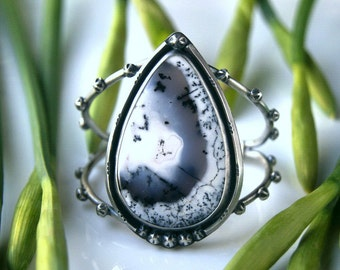 RESERVED - Days in Snow - Dendritic Opal Sterling Silver Cuff