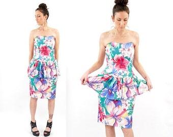 HOLIDAY SALE vintage 80s pastel FLORAL print Strapless peplum dress M