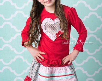 Girl's Valentines Day Shirt and Skirt- Hello Lovely Set- from Melon Monkeys - 2017 Spring Collection
