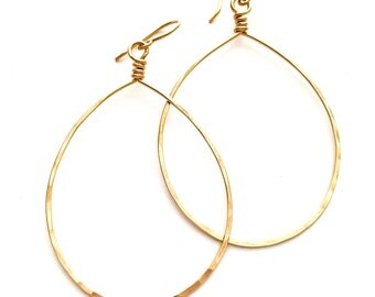 X-Large Gold Teardrop Hoop Earrings. 14k Yellow Gold Filled Hammered Hoops.