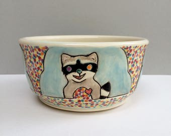 Woodland Animals Bowl, Small, Orange Fox, Black Bear, Rabbit and Raccoon Colorful Blue Cereal Bowl, Soup or Salad Bowl, Animal Art Pottery