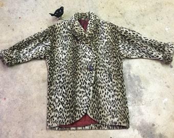Plush Leopard Faux Fur - Oversize - 1980s - Funky Fun Winter Coat - Animal Print - Big Cat - Cheetah Leopard Coat - Plus Size - 54 Bust