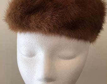 Vintage 1960s Mink Hat - Fancy Mink Pillbox Hat - Genuine Fur Hat - Winter Wedding Accessory - Hollywood Glam - Glamorous - Status - Classic