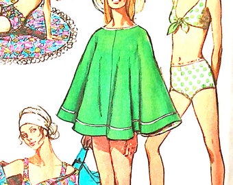 Uncut Simplicity 8792 Bathing Suit and Reversible Poncho or Beach Cover-Up  Early 70s or late 1960s Vintage Sewing Pattern  Bust 34