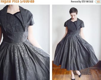 SPRING CLEANING SALE 1950s Black Floral Taffeta Party Dress - M/L