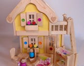 Wooden Toy Peg Doll House, Natural Wood Toy Dollhouse Furniture, Handmade Kids Waldorf Gift, Jacobs Wooden Toys 'SUNNY DAFFODIL'