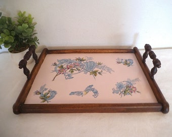 Vintage Victorian Era Painted Tile and Wood Serving Tray ~ Light Pink and blue floral with Bird