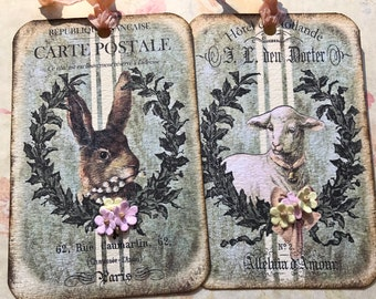 Easter / Spring Tags, set 0f 4, 2 each of 2 designs, with paper flowers