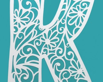 delicate letter PAPER CUTTING - Paper cut art, swirls, white paper, botanical, word art, quote, inspiration, family letter, name, one letter