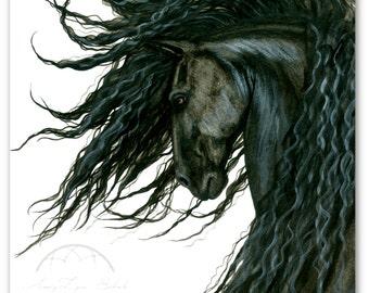 DreamWalker Majestic Horse Friesian ArT-  Giclee Print by Bihrle mm160