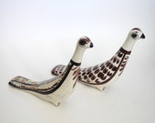 SALE Tonala Bird figurines - ceramic birds - tonala pottery folk art - mexican long neck bird sculptures - vintage mid century collectible