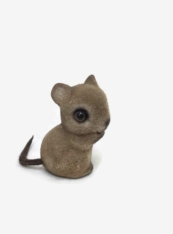 Vintage Flocked Mouse Figurine - Miniature Animal