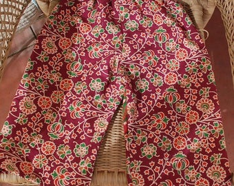Kids Hippie pants-size 1-yoga- Burgundy flower -can be Capris or jams on older child