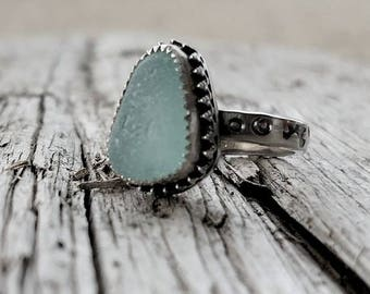 Blue Sea Glass Silver Stamped Band Ring Size 7
