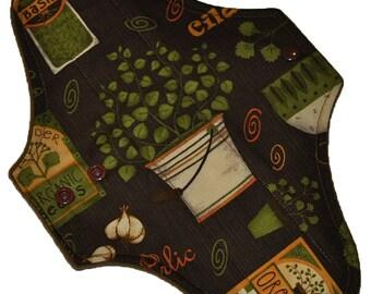 Moderate Hemp Core- Garden Seeds Reusable Cloth Maxi Pad- WindPro Fleece- 10 Inches (25.5 cm)