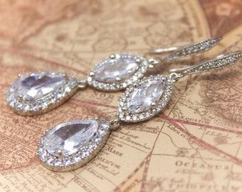 Bridal Earrings Cubic Zirconia Teardrop and Marquis Wedding Earrings