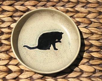 Ceramic CAT Bowl - Cat Food Water Bowl - Handmade Sage Green Stoneware Cat Bowl - Black Cat Silhouette - Ready To Ship