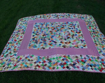Lovely Vintage, Colorful Handmade, Hand Quilted Quilt Made From Polyester Fabrics