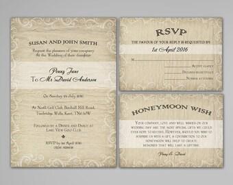 Digital Invitation Package, DIY invitations, Reply rsvp Card, Honeymoon Wish, Printable wedding invitation 1W3