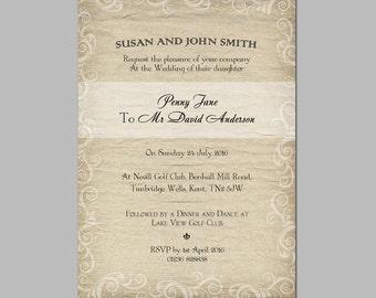 Digital Wedding Invitation Package, DIY Wedding invitations, Printable wedding invitation, 1W1