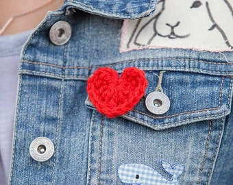 heart brooch/ heart pin/ vegan pin/ friend pin/ lapel pin/ love heart pin/ lapel pin/ gift for her/ valentines gift/ red pin/ party favors