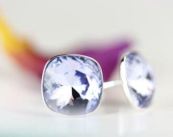 Provence Lavender crystal stud earrings, Swarovski cushion cut 10mm, sterling silver settings, gift for her, art4ear, under 25 USD, lavender