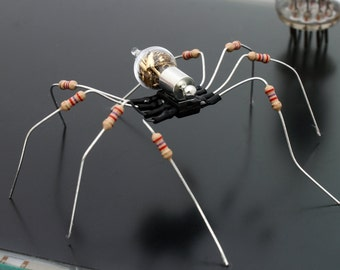 Unique Steampunk Recycled Spider- Mars- Upcycled yellow resistor chip electrical component spider desk sculpture- gifts for him