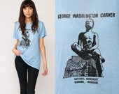 Graphic Tee Shirt GEORGE WASHINGTON CARVER Vintage 80s Tshirt Paper Thin Retro T Shirt Screen Print 1980s Baby Blue Extra Large xl