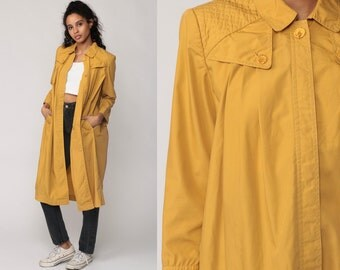 Mustard Yellow Jacket TRAPEZE Babydoll Jacket Coat 80s Long Tent PLEATED 70s Vintage Swing Boho Bohemian Medium