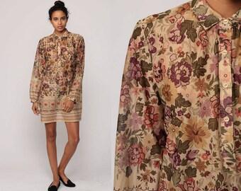 Bohemian Dress FLORAL Print Mini 70s Hippie Button Up Shift Boho Long Sleeve Tan Vintage 1970s Retro Summer Minidress Medium