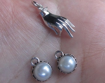 Sterling Silver Hand Mudra(1 or 2 charms),or Pearl Drop-You choose which one