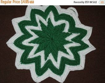 SALE- Hand Crocheted, Green and White Potholder, New Condition, Cotton