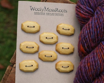 8 Yellowheart Toggle Buttons- Mahogany Wood Buttons- Reclaimed Wood- Knitting, Sewing, Craft Buttons