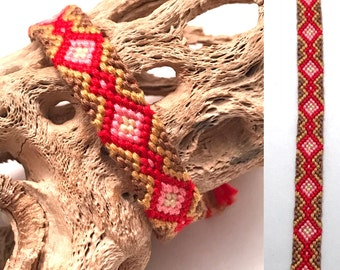 Embroidery floss friendship bracelet - diamonds - red - pink - micro macrame - handmade - knotted - woven - string - thread - cotton