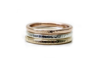 3 Chunky Hammered Stacking Rings in 14K solid gold, rose gold, and sterling silver